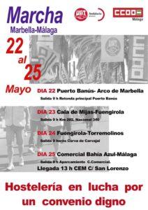 Marcha Marbella-Málaga: Hostelería en lucha por un convenio justo @ Rotonda Principal Puerto Banús