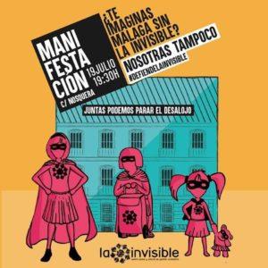 19J Manifestación en apoyo a la Invisible @ Calle Nosquera, Málaga