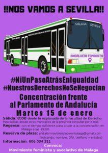 BUS MÁLAGA hacia Concentración en Sevilla @ Explanada de la Facultad de derecho