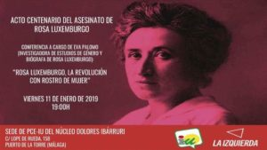 Acto de Centenario de Rosa de Luxemburgo @ Sede del PC-IU -Dolores Ibárruti | Málaga | Andalucía | España