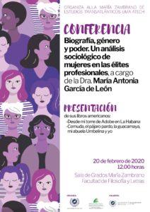 Conferencia: Biografía, género y poder @ Salón de grados María Zambrano | Málaga | Andalucía | España