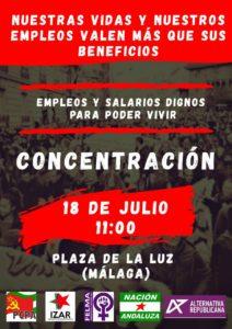 Concentración por unos empleos y salarios dignos para poder vivir @ Plaza de la luz | Málaga | Andalucía | España