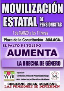Las pensiones se defienden.- El Pacto de Toledo aumenta la brecha de género @ Plaza de la Constitución | Málaga | Andalucía | España