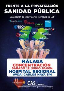 NO a privatizar sanidad pública, derogación Ley 57 y art. 90 LGS @ Hospital Regional | Málaga | Andalucía | España